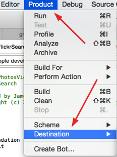Xcode Product to destination