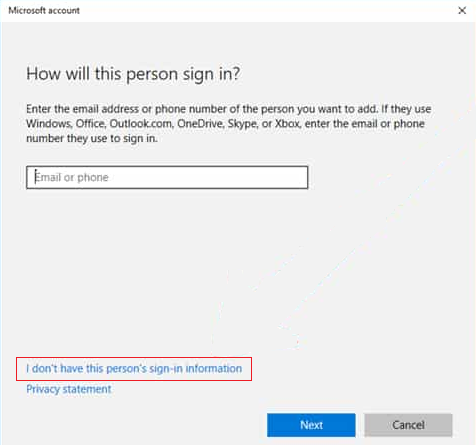 add user without any Microsoft id