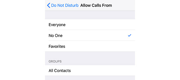 Do not disturb allow calls from no one
