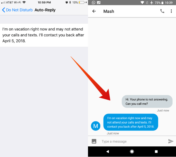 Auto reply on iPhone for messages and calls