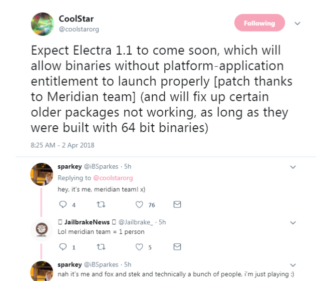 Electra 1.1 is announced on CoolStar Twitter Account