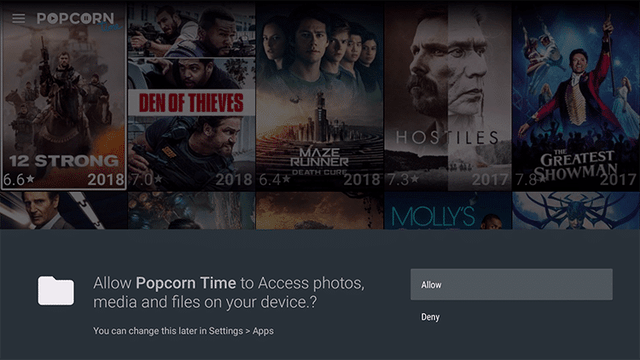 Grant permissions for PopCorn Time App