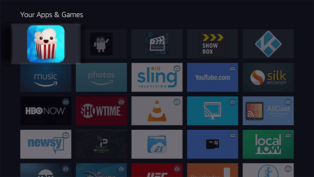 Navigate to Popcorn time under the your apps and games
