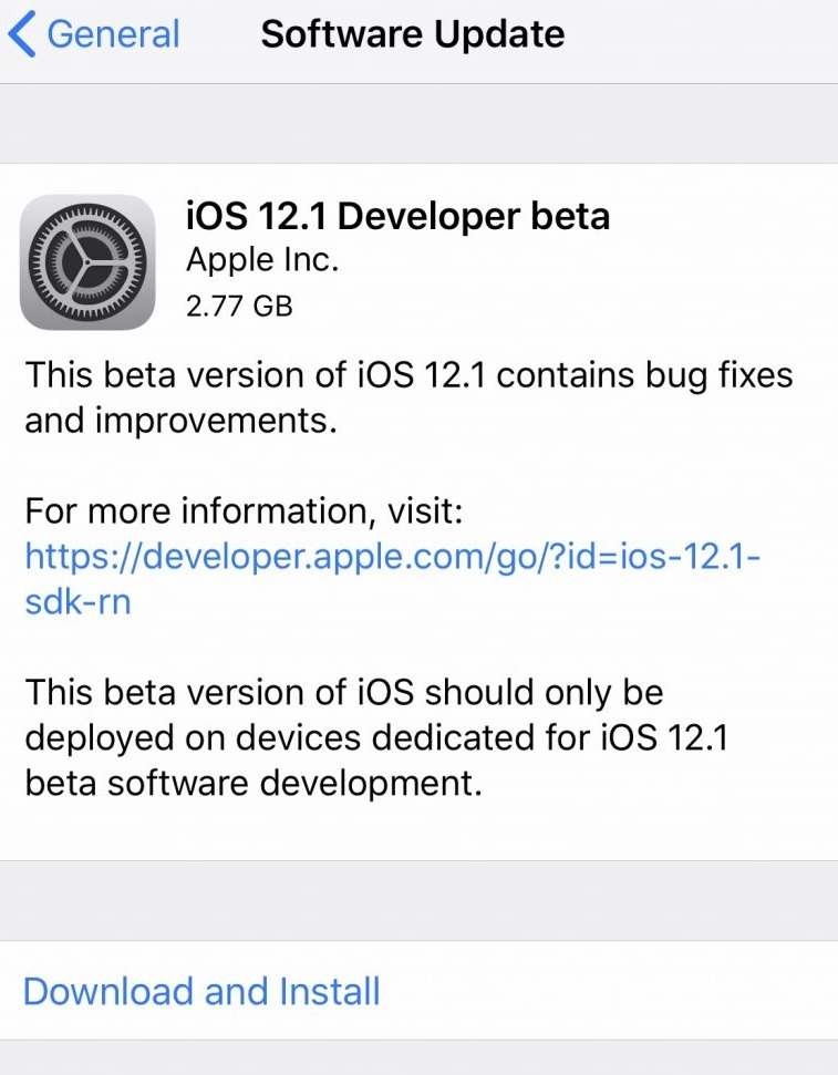 iOS 12.1 Beta 1 IPSW Links & OTA Update