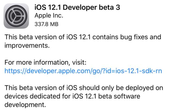 iOS 12.1 Beta 3 Update Without Developer Account download
