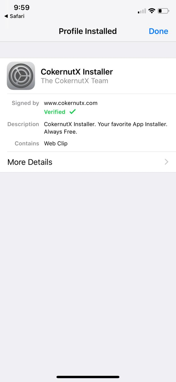 Done - Installed Cokernutx App Installer