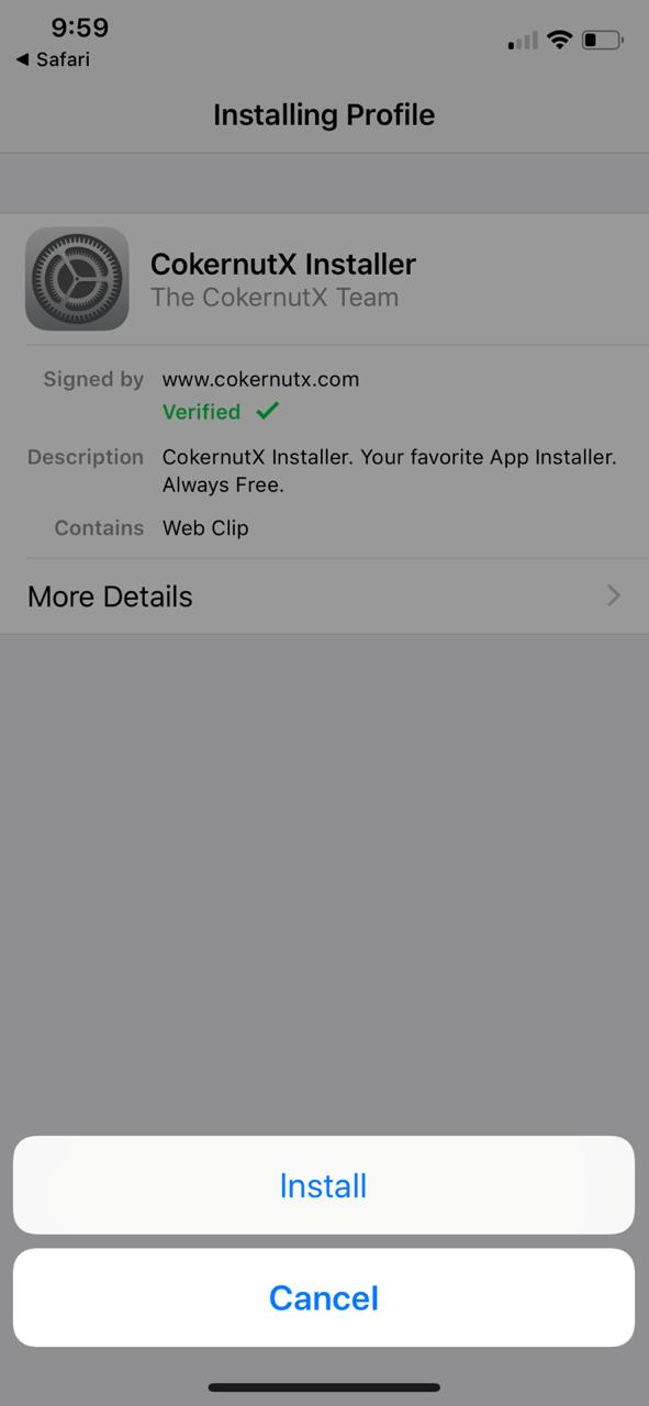 Cokernutx iOS App Installed - Install