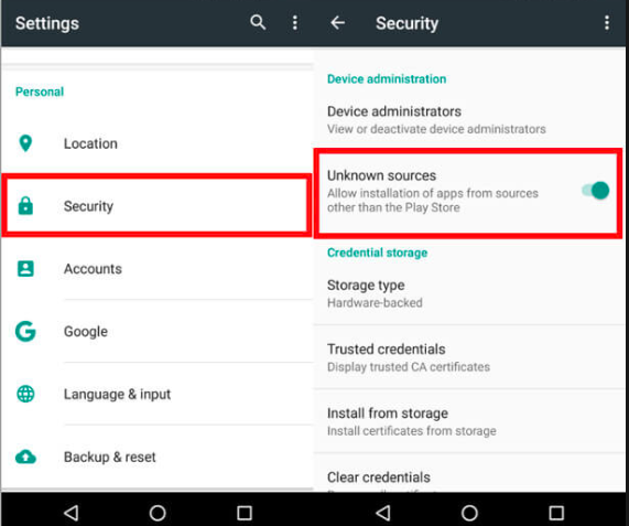 Enable Unknown Sources - TuTuApp Lite APK