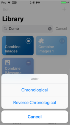 Siri Shortcut for Image Merging