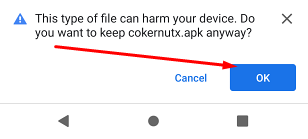 Allow Downloading CokernutX APK on Android